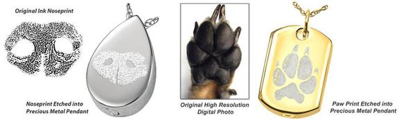 Noseprint paw print jewelry we offer several styles of pet print memorial jewelry the sterling silver precious metal charms have your pets noseprint or pawprint etched into the metal aloadofball Images